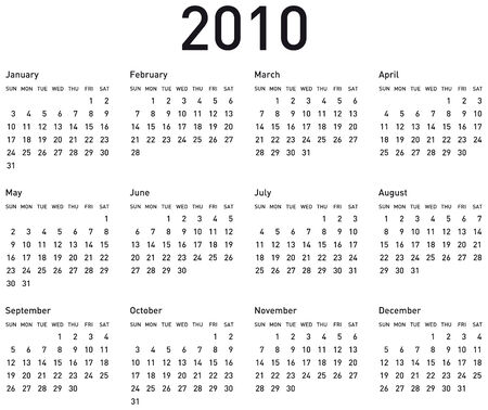 scheduler: Simple Calendar for year 2010. vector format.