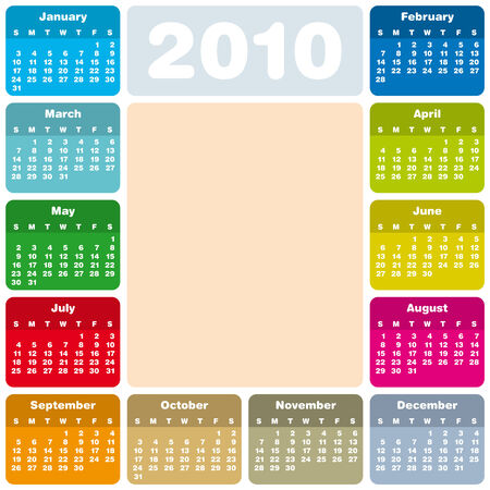 Colorful Calendar for year 2010 in vector format Stock Vector - 4528945