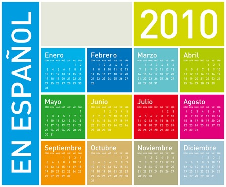 Colorful Calendar for year 2010. in vector format. In Spanish. Illustration