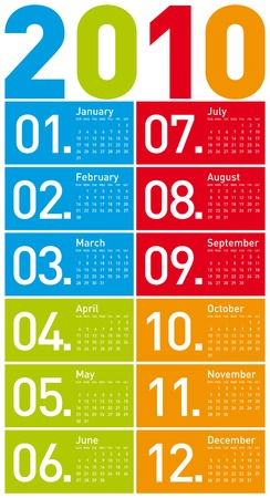 scheduler: Colorful Calendar for year 2010. in vector format.