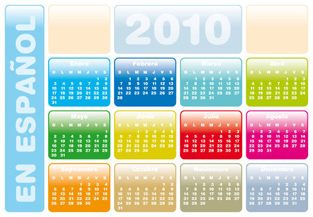 Colorful Calendar for year 2010 in vector format. In Spanish Stock Vector - 4562991