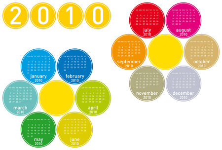 Colorful Calendar for year 2010 in a circles theme. in vector format. Stock Vector - 4562994