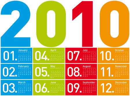 Colorful Calendar for year 2010. in vector format. Stock Vector - 4562993