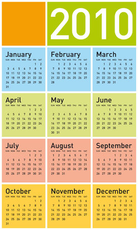 Colorful Calendar for year 2010. in vector format. Stock Vector - 4616347