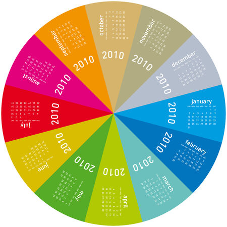 Colorful Calendar for year 2010, rotating design, in vector format.