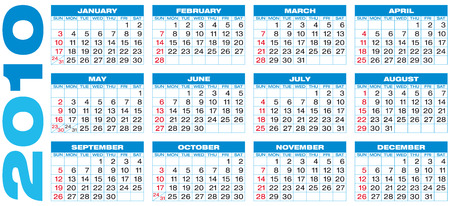 weeks: Blue Calendar for year 2010, in vector format.