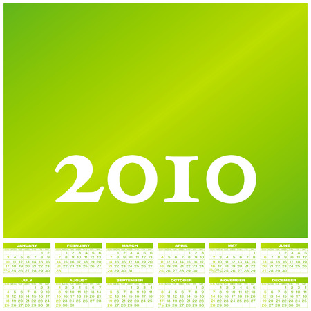 formato: Green Calendar for year 2010, in vector format.