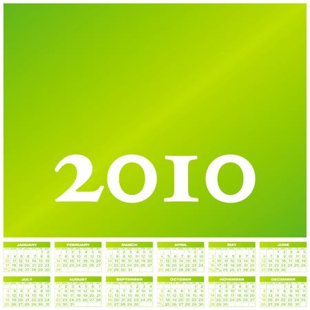 schedulers: Green Calendar for year 2010, in vector format.