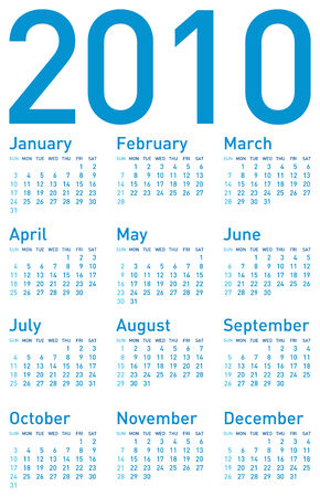daily planner: Simple Blue Calendar for year 2010. in vector format