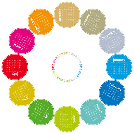 Colorful Calendar for year 2010, rotating design, in vector format. Stock Vector - 4653256