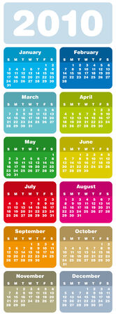 Colorful Calendar for year 2010 in vector format Stock Vector - 4653254