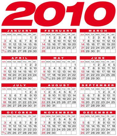 Calendar for year 2010, in vector format Vector