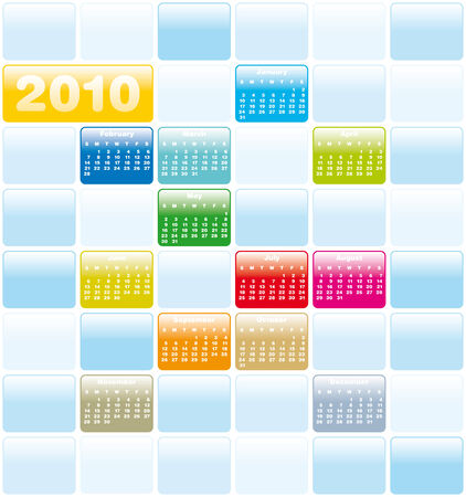 Colorful Calendar for year 2010 in vector format Stock Vector - 4729904