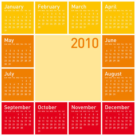 Calendar for year 2010, in warm colors. in vector format. Stock Vector - 4729907