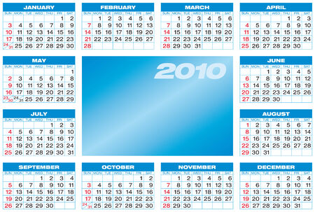 Blue Calendar for year 2010, in vector format.  Vector
