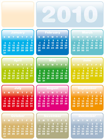 Colorful Calendar for year 2010 in vector format Stock Vector - 4815445