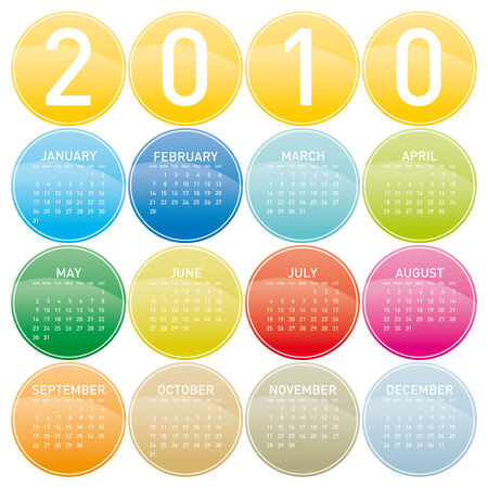 Colorful Calendar for year 2010 in a circles theme. in vector format. Stock Vector - 4815447