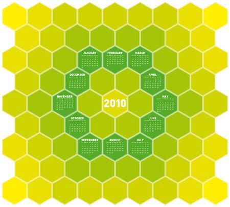 almanac: Calendar for year 2010 in an hexagonal pattern (vector format)
