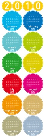 scheduler: Colorful Calendar for year 2010 in a circles theme. in vector format.