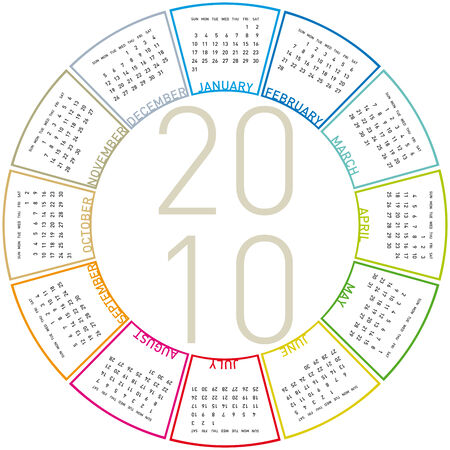 Colorful Calendar for year 2010, rotating design, in vector format. Stock Vector - 4866625