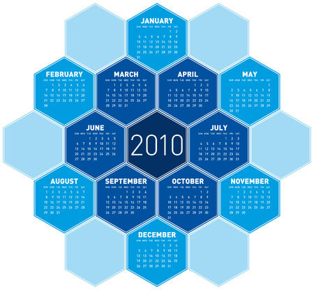 Blue Calendar for year 2010 in an hexagonal pattern (vector format)