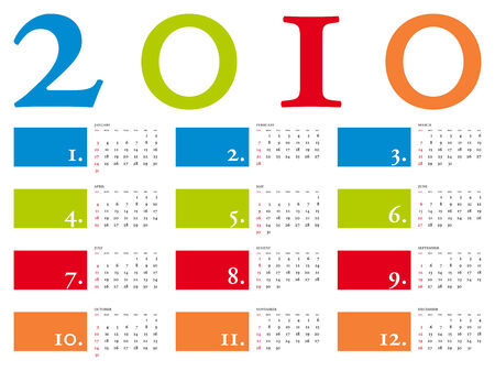 Colorful and elegant Calendar for year 2010 in vector format Stock Vector - 4945289