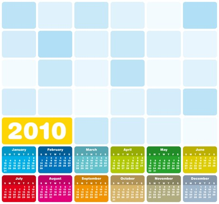 Colorful Calendar for year 2010 in vector format Stock Vector - 4945284
