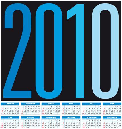 Blue Calendar for year 2010, in vector format.  Vector