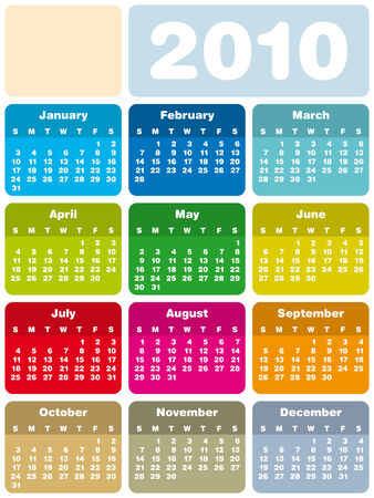 Colorful Calendar for year 2010 in vector format Stock Vector - 5040142