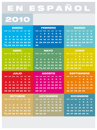 Colorful Calendar for year 2010 in vector format, in Spanish Vector