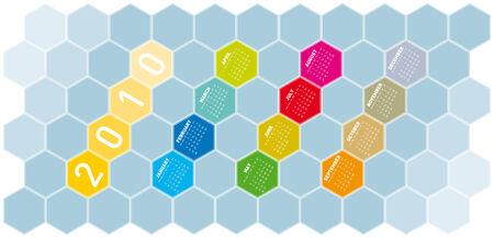 Calendar for year 2010 in an hexagonal pattern (vector format) Vector