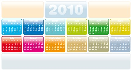 Colorful Calendar for year 2010 in vector format. Horizontal layout Stock Vector - 5074213