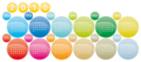 Colorful Calendar for year 2010 in a circles theme, in vector format Stock Vector - 5074217