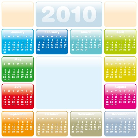 Colorful Calendar for year 2010 in vector format Stock Vector - 5113207