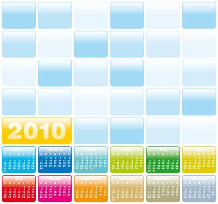 Colorful Calendar for year 2010 in vector format Vector