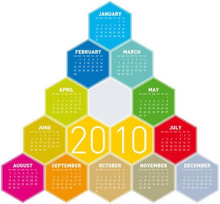 Calendar for year 2010 in an hexagonal pattern (vector format) Stock Vector - 5138548