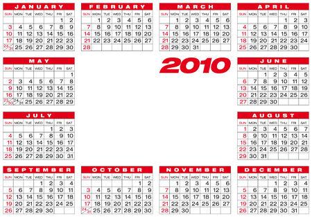 Calendar for year 2010, in vector format Stock Vector - 5168489