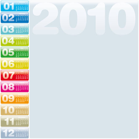 Colorful Calendar for year 2010 in vector format Stock Vector - 5168490