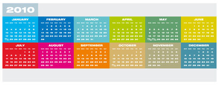 Colorful Calendar for year 2010 in vector format Stock Vector - 5168488