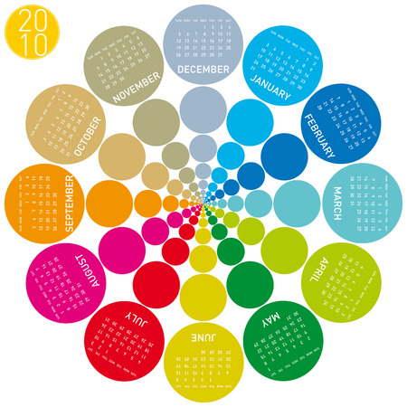 schedulers: Colorful Calendar for year 2010, rotating design, in vector format.