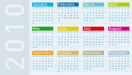 Calendar for year 2010, in vector format. Stock Vector - 5168493