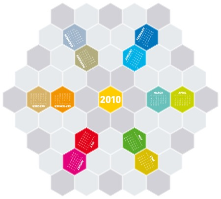 Colorful Calendar for year 2010 in an hexagonal pattern (vector format) Stock Vector - 5168492