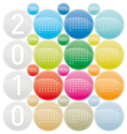 almanacs: Colorful Calendar for year 2010 in a circles theme, in vector format. Illustration