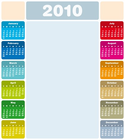 Colorful Calendar for year 2010 in vector format Stock Vector - 5205721