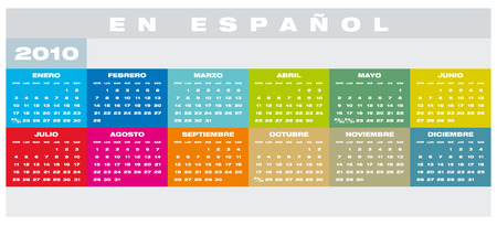 Colorful Calendar for year 2010 in vector format, in Spanish Stock Vector - 5205720