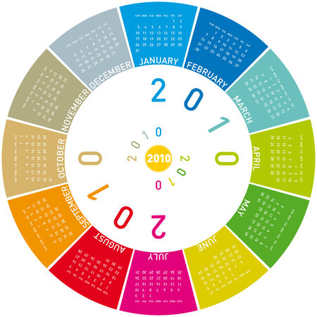 Colorful Calendar for year 2010, rotating design, in vector format. Vector