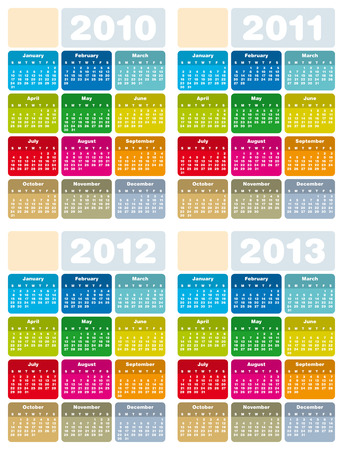 day planner: Colorful Calendars for years 2010, 2011, 2012 and 2013 in vector format Illustration