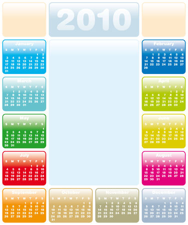 Colorful Calendar for year 2010 in vector format Stock Vector - 5228950