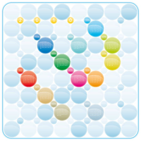 Colorful Calendar for year 2010 in a circles theme, in vector format Stock Vector - 5228953