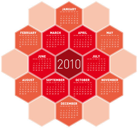 Red Calendar for year 2010 in an hexagonal pattern (vector format) Stock Vector - 5228952